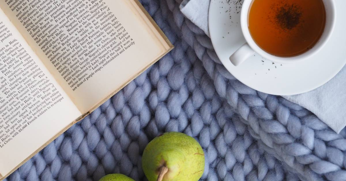 An image of a book and tea.